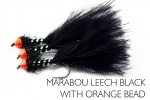 Marabou Leech Black Orange Bead